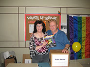 Organizers, Janice Pittman and Dave Williams at the Rainbow Fusion youth event.