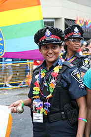 York Regional Police officers march in the Toronto Pride Parade.