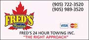 Fred's 24-Hour Towing Services, Georgina