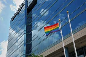 The Rainbow Flag raised at Richmond Hill Civic Centre.