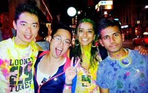 Scenes from the glow and paint party.